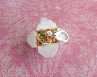 Miniature Food Jewelry Polymer Clay Charms Takeout Box Chinese Food Charm Handmade Jewelry