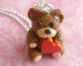 Valentine's Day Teddy Bear Valentine's Day Gift Polymer Clay Teddy Bear Necklace