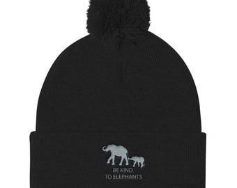 be Kind To Elephants Pom Pom Knit Cap