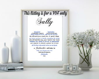 Godmother gift, Christening gift, PRINT YOUR OWN Thank you gift for Godmother, personalised gift for Godmother, Godparent thank you