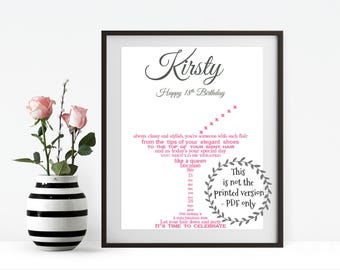 18th Birthday Gift for her, PRINT YOUR OWN Friend gift, Personalised Gifts for her, Personalized Gifts for women, Birthday, 18th, Eighteen
