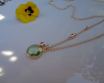 Gold chain with green amethyst, 585 gold filled, double - ring with ball