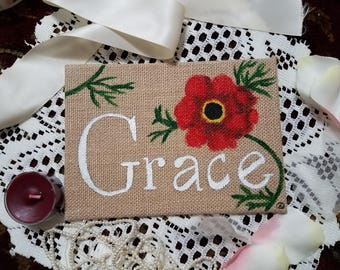 Grace Acrylic Burlap Canvas Painting