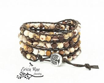 Zebra jasper leather wrap bracelet, beaded wrap bracelet, leather bracelet, gemstone leather wrap bracelet, tree of life boho bracelet