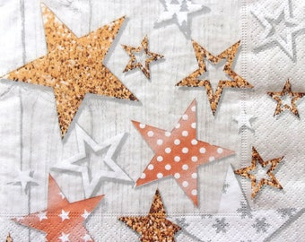 Set of 2 pcs 3-ply ''Stars with pattern'' paper napkins for Decoupage or collectibles 33x33cm, Holiday napkins, Christmas napkins, Servetten