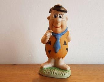 Fred Flintstone Figurine ~ Vintage Flintstones Hanna Barbera Bisque Porcelain Figure 6 Inches Tall
