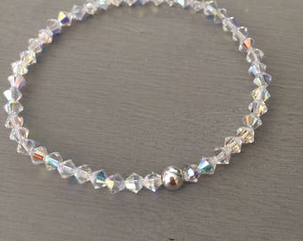 AB Swarovski crystal stretch bracelet with Sterling Silver or 14K Gold Fill bead