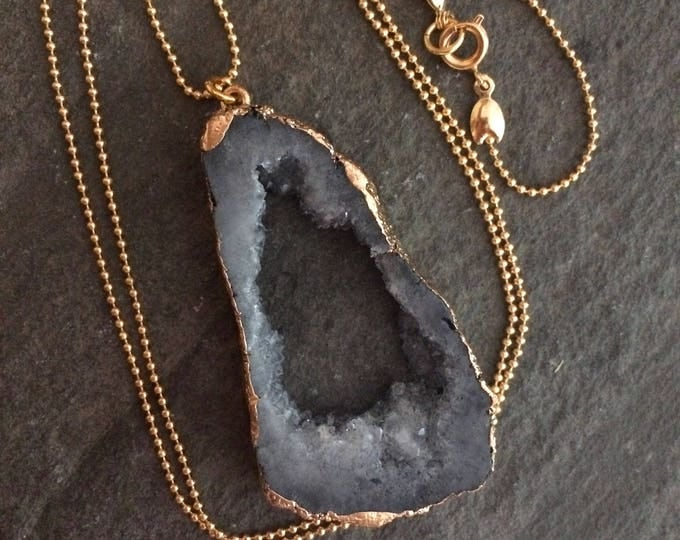 "Long grey Druzy pendant necklace on 28"" 18K Gold Fill ball chain"