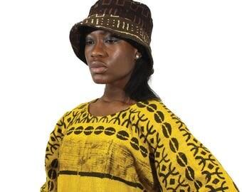 African Clothes ,Mud cloth Brim Hat
