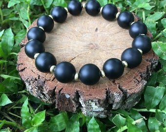 Dorothy Bracelet- Matte Black Onyx Agate(10mm) -Black and Gold-Oliver Grey Jewelry - Stacking Bracelets - Gemstone Bracelet - Earthy Jewelry