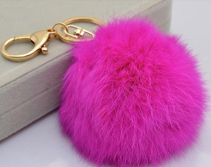 HOT PINK Fur ball charm Genuine Rabbit fur ball pom pom keychain for car key ring Bag Pendant
