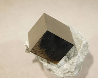 A Small PERFECT! 100% Natural PYRITE Crystal Cube on Matrix! From Spain 110gr