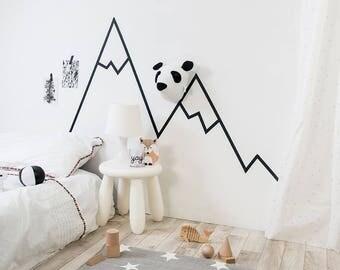 Panda head, kids room decor, nordic decor, nursery decor, felt panda, monochrome nursery, taxidermy panda, animal mount, monochrome, nursery
