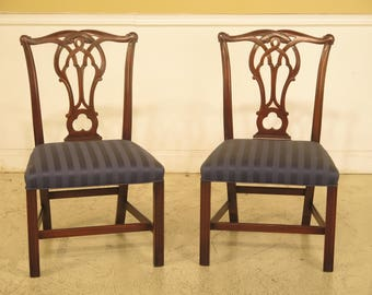43952EC: Pair KITTINGER CW-16 Chippendale Mahogany Side Chairs