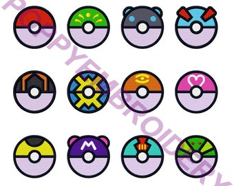 POKEMON ball pokeball Design for Embroidery machine  /   motifs pour broderie machine / INSTANT DOWNLOAD