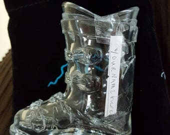 Personalized snow boot shot glass with pouch.