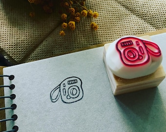 camera hand carved rubber stamp.camera rubber stamp.camera stamp.
