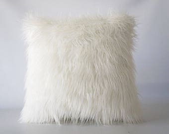 30x30 Mongolian faux fur pillow, faux fur pillow cover, faux fur, pillow cover, Mongolian fur, fur pillow cover