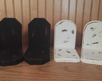 Black wooden distressed bookends, white wooden distressed bookends,farmhouse decor