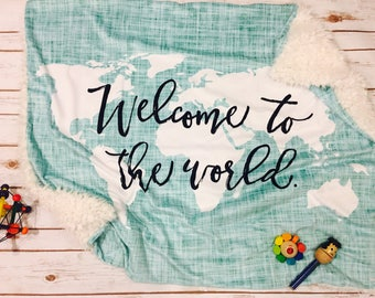 World map bedding etsy snuggle blanketbaby blanket made to order hello world gumiabroncs Images