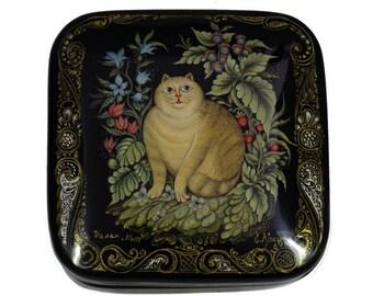 Palekh Russian Lacquer Box FAT CAT #4020