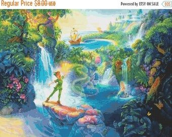 "Peter Pan Counted Cross Stitch Peter Pan Pattern embroidery needlepoint Peter Pan needlecraft - 35.37"" x 26.50"" - L805"