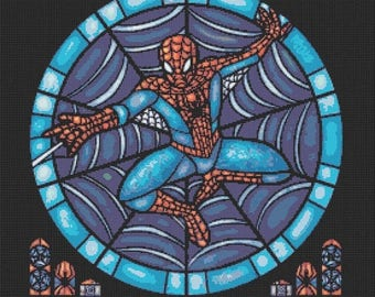 """Spider man Counted Cross Stitch Spider man Pattern marvel pattern stained glass pattern - 19.71"""" x 30.43"""" - L782"""