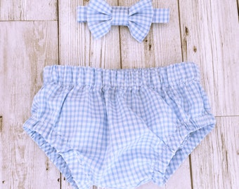 Cake Smash Baby Nappy Cover & Bow Tie Set, Cake Smash Outfit, Blue Gingham, First Birthday, Diaper Cover, Photoshoot, Baby boy, Baby Bow Tie