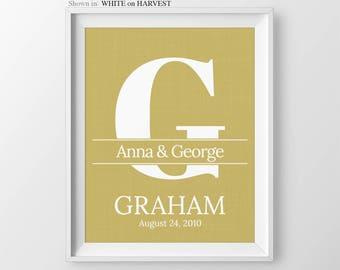 Custom Monogram Print Wedding Shower Gift Monogrammed Gift For Couple Wedding Monogram Last Name Print Wedding Date Custom Wedding Print