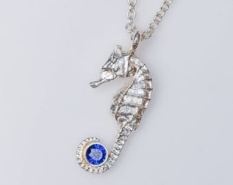 Seahorse necklace, personalized birthstone necklace, seahorse pendant, cast from a real seahorse, sterling silver, beach necklace, gift