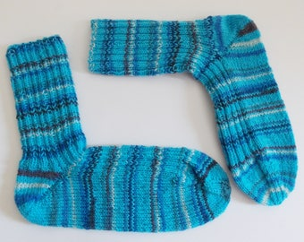hand-knitted socks, Gr. 40/41 (EU), turquoise with colorful stripes