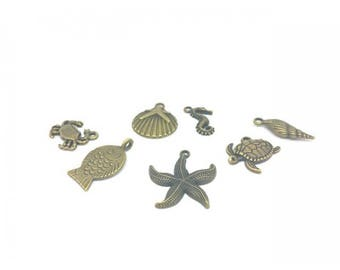 35 charms Theme Ocean color Bronze