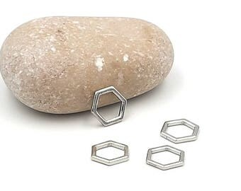 silver gray Hexagon rings 11x10mm 30 charms