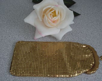 VINTAGE GOLD Metallic MESH Eyeglasses Case, or Travel Jewelry Case. Whiting and Davis style narrow Eyeglasses case.