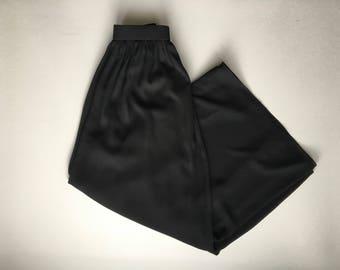 Black High Waisted Wide Leg Pant / Flowy Pants Women's s / m