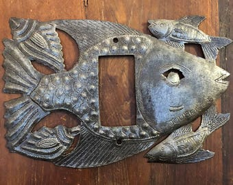 "Lighting, Recycled Metal Rocker Switch Plate Cover in Fish Design From Haiti 9"" x 6"""