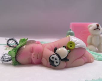 "Polymer Clay Baby Girl With Her Favorite Penguin "" BABY SIZE 2.5"" Gift, Collectible, Keepsake, Memorial, Baby Shower, Cake Topper, Shelf"
