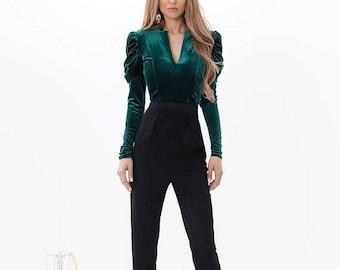 MEGA SALE Emerald crop top / Green blouse / Elegant top / Green crop top / puffed sleeves blouse / Green velvet top / top / green / emerald