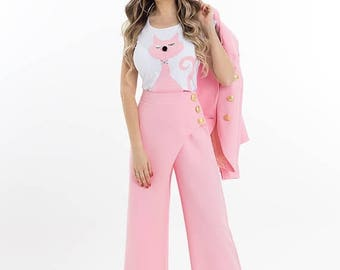 MEGA SALE High waist pink trousers / Elegant pink trousers / Pink pants / Formal pants / Pink trousers / Charleston pants / Pants / Extravag