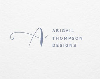 Pre Made Logo // Script Font Logo Design // Hand Drawn // Customized with Your Name // Premade Logo Design