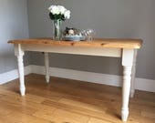 Farmhouse Style Cream Painted Pine Dining Table (delivery quote available on request)