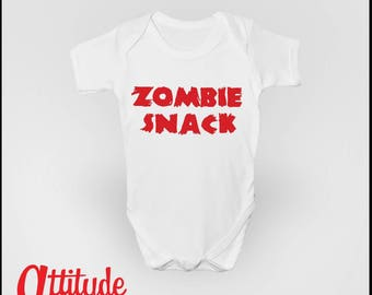 Zombie Snack Funny Baby Grow Babygrow - Walking Dead Inspired