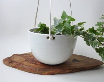 Hanging Planter - Hanging pot for small plants - Shiny White Handmade Ceramic hanging planter - succulent and small/medium plants - pottery