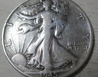 1945 S silver Walking Liberty half dollar coin grades VF (#E217h)