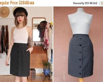 Summer Sale 1960's Navy Blue Pencil Skirt - Size S