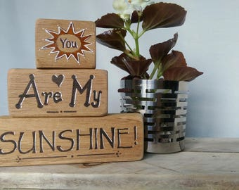 Reclaimed wood shelf sitters you are my sunshine unusual gift home decor vintage wood gift for child nursery bookshelf affection family