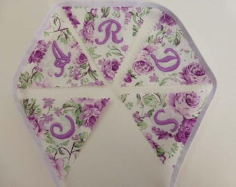Cards Bunting Wedding sign banner decoration vintage shabby chic style mauve green purple white cabbage roses
