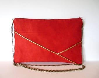 Wedding evening wallet, red and gold graphic shoulder bag