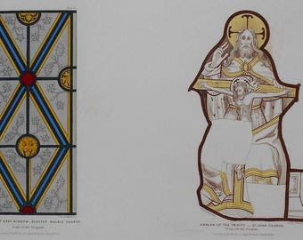 1846 Folio Lithograph: Emblem of the Trinity at St John's Church & Acaster Malbis Church Glass Work , UK,  by John Weale