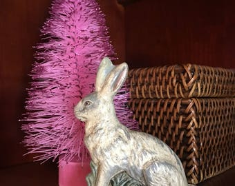 Chalkware Folk Art Sitting Rabbit